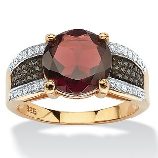 PalmBeach 14k Yellow Gold over Sterling Silver 6ct Round Garnet and Pave Cubic Zirconia Cocktail Ring