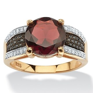 14K Gold over Sterling Silver Garnet and Cubic Zirconia Ring