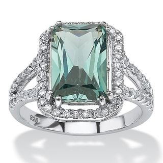 PalmBeach .54 TCW Emerald-Cut Green Spinel Halo Cocktail Ring in Platinum over Sterling Silver Color Fun