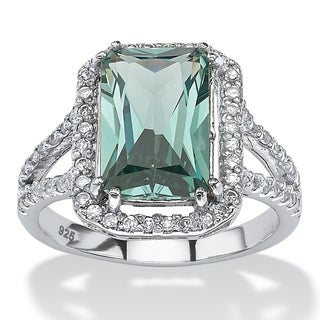 .54 TCW Emerald-Cut Green Spinel Halo Cocktail Ring in Platinum over Sterling Silver Color