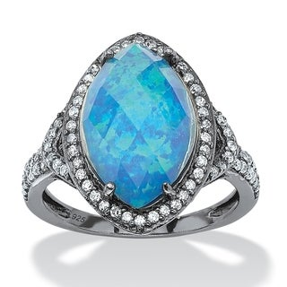 PalmBeach Black Ruthenium-plated Sterling Silver 6 5/8ct Marquise Simulated Opal and Cubic Zirconia Halo Ring Color Fun
