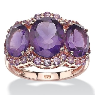 Rose Gold over Sterling Silver 5 7/8ct Oval-cut and Pave Purple Amethyst Ring