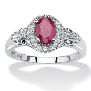 Rhodium-plated Sterling Silver 1 1/5ct Oval-cut Ruby and Topaz Halo Cocktail Ring