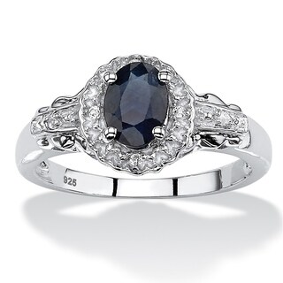 Rhodium-plated Sterling Silver 1 1/8ct Oval Blue Sapphire and Topaz Cocktail Ring
