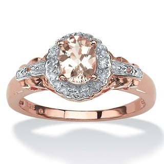 PalmBeach Rose-plated Sterling Silver 4/5ct Oval-cut Pink Morganite and Topaz Halo Ring