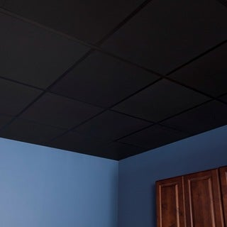 Genesis Smooth Pro Black 2 x 2 ft. Lay-in Ceiling Tile (Pack of 12)