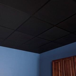 Genesis Smooth Pro Black 2 x 2 ft. Lay-in Ceiling Tile (Pack of 12)