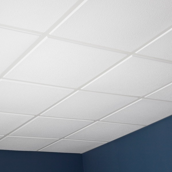 Genesis Stucco Pro Revealed Edge White 2 x 2 ft. Lay-in Ceiling Tile (Pack of 12) - Free ...