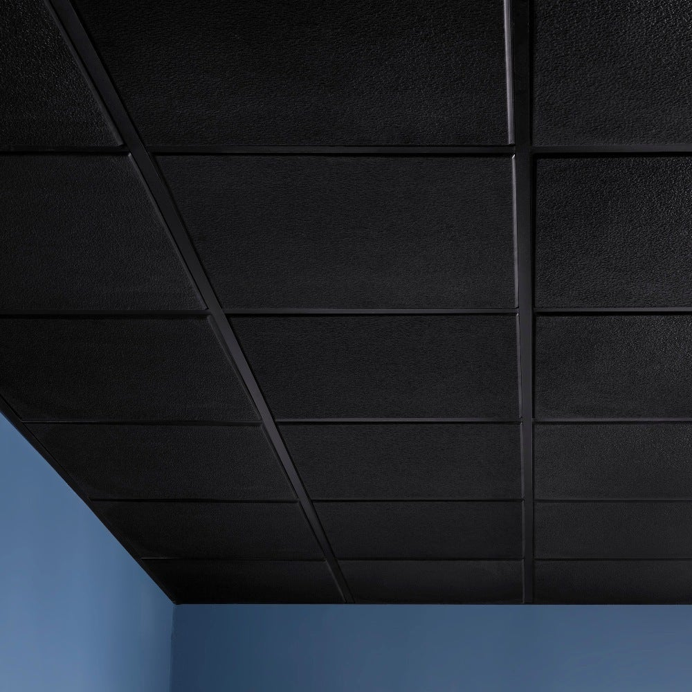 Genesis Stucco Pro Revealed Edge Black 2 X 2 Ft Lay In Ceiling Tile Pack Of 12