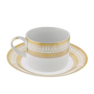10 Strawberry Street Iriana Gold Can Cup/Saucer Set of 6