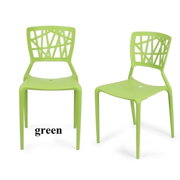 Adeco Polypropylene Hard Plastic White Dining Chairs (Set Of 2)