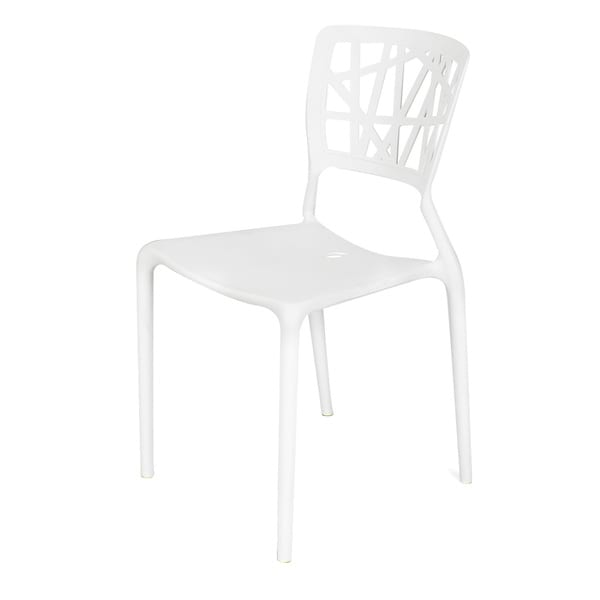 shop adeco polypropylene hard plastic white dining chairs set of 2