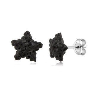 Sterling Silver Jet Black Crystal 10mm Star Stud Earrings