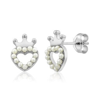 Sterling Silver Crowned Heart Freshwater Pearls Kid's Earrings
