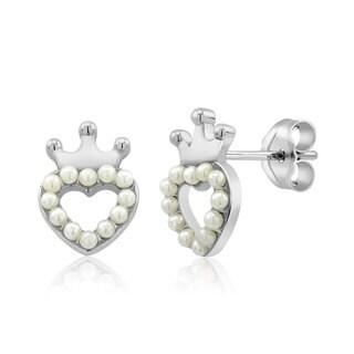 Sterling Silver Crowned Heart Freshwater Pearls Kid's Earrings