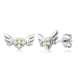 Sterling Silver Winged Heart Freshwater Pearls Kid's Earrings