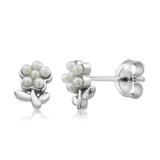 Sterling Silver Flower Freshwater Pearls Kid's Earrings
