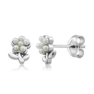 Sterling Silver Flower Freshwater Pearls Kid's Earrings