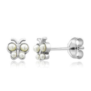 Sterling Silver Baby Butterfly Freshwater Pearls Kid's Earrings