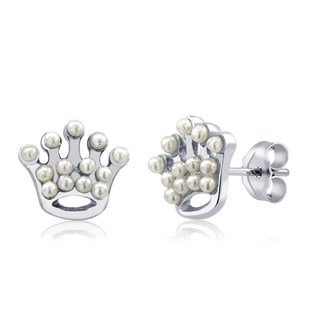 Sterling Silver Crown Freshwater Pearls Earrings