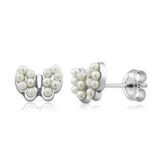 Sterling Silver Butterfly Freshwater Pearls Earrings
