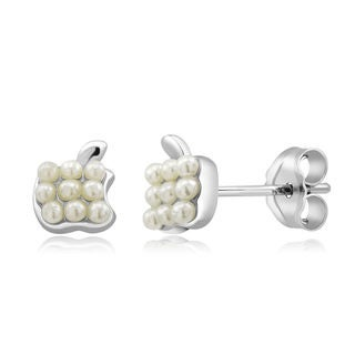 Sterling Silver Apple Freshwater Pearls Earrings