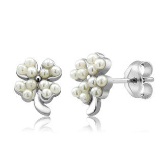 Sterling Silver Clover Freshwater Pearls Earrings