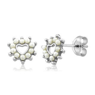 Sterling Silver Heart Freshwater Pearls Earrings