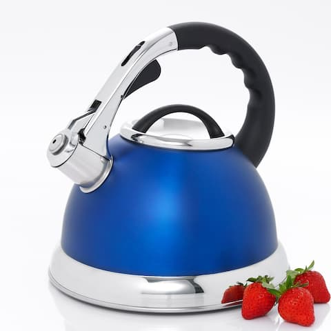 Creative Home Camille 3.0 Qt Whistling Stainless Steel Opaque Blue Tea Kettle