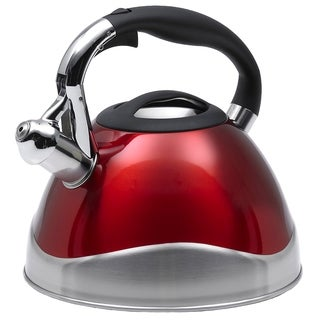 Creative Home Crescendo 3.1-quart Whistling Stainless Steel Metallic Cranberry Tea Kettle