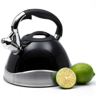Creative Home Crescendo 3.1-quart Whistling Stainless Steel Powder Coated Black Tea Kettle