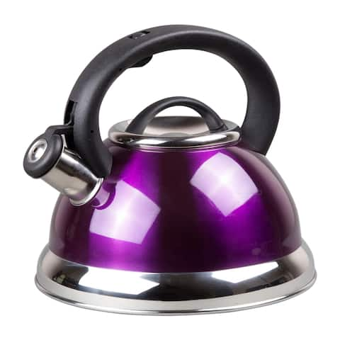 Creative Home Alexa 3.0 Quart Stainless Steel Whistling Tea Kettle with Capsulated Bottom, Metallic Purple Color