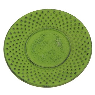 Creative Home 3.75-inch Diameter Cast Iron Round Green Trivet