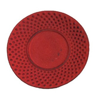 Creative Home 3.75-inch Diameter Cast Iron Round Red Trivet