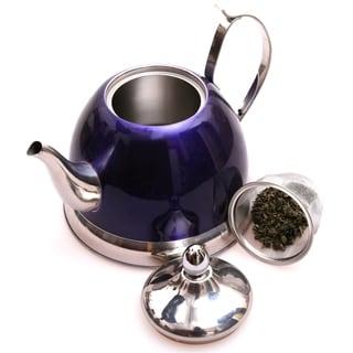 Creative Home Nobili-Tea 1.0-quart Tea Kettle/ Tea Pot with Stainless Steel Deep Purple Infuser Basket