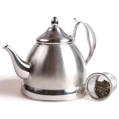 Creative Home Nobili-Tea 2.0 Qt. Stainless Steel Tea Kettle/Tea Pot with Infuser Basket