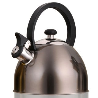 Creative Home Prelude 2.1 Qt. Whistling Stainless Steel Metallic Smoke Tea Kettle