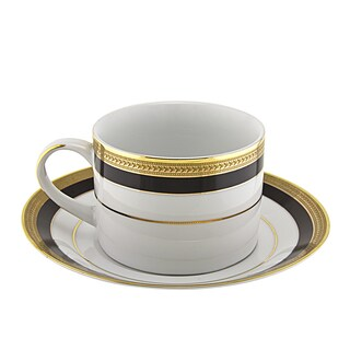 10 Strawberry Street Sahara Black Can Cup/ Saucer (Set of 6)