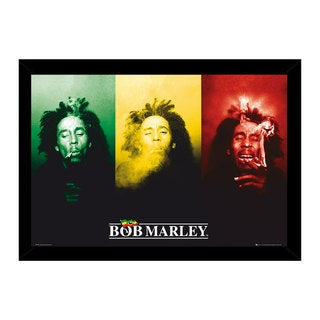 Bob Marley Smoke Print (36-inch x 24-inch) with Traditional Black Frame