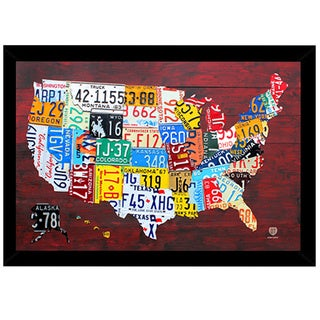License Plate Map of the US Print (24-inch x 36-inch) with Traditional Black Frame