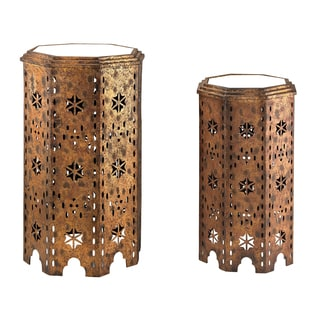 Essouria 2-Piece Moroccan Mirrored-Top Side Table