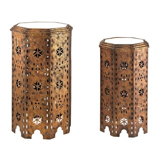 Essouria 2-Piece Moroccan Mirrored-Top Side Table (As Is Item)