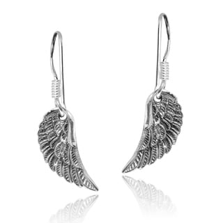 Handmade Divine Angel Wings .925 Sterling Silver Dangle Earrings (Thailand)