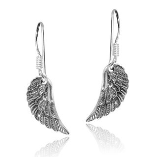 Handmade Divine Angel Wings .925 Sterling Silver Dangle Earrings (Thailand)