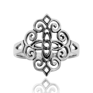 Handmade Vintage Beauty Floral Filigree Lace Sterling Silver Ring (Thailand)