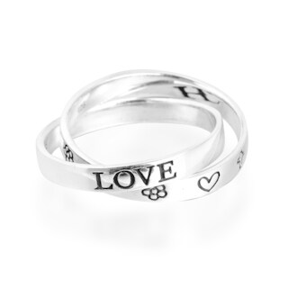 Handmade Love Hope Faith Interconnected Band Sterling Silver Ring (Thailand)