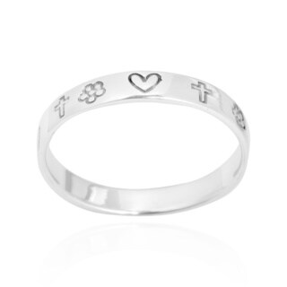 Handmade Love and Faith Emblem 3mm Band .925 Sterling Silver Ring (4 options available)