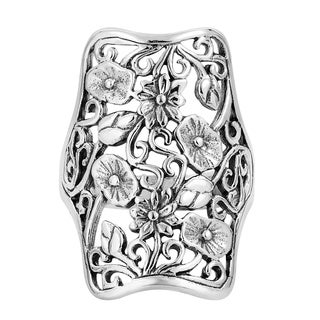 Handmade Royal Tropical Lotus Garden .925 Sterling Silver Ring (Thailand)