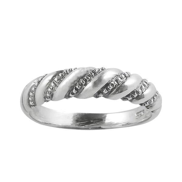 cc54904ac8705 Shop Handmade Diagonal Twist Spiral .925 Sterling Silver Ring ...