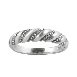 Diagonal Twist Spiral .925 Sterling Silver Ring (Thailand)